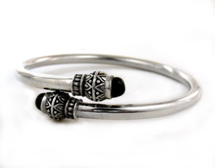 "Sterling Silver ""Maya"" Ornate Criss Cross Opening Bangle Bracelet, Onyx"