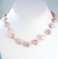 Cultured Coin Pearls Sterling Silver Link Necklace, Pink