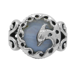 Sterling Silver Dophin Frame Blue Lace Agate Ring