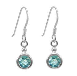 Sterling Silver Round Crystal Solitaire Drop Earrings, Aqua