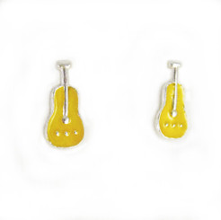 Sterling Silver Yellow Enamelled Guitar Stud Post Earrings