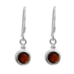 Sterling Silver Round Crystal Solitaire Drop Earrings, Red
