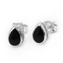 Sterling Silver Teardrop Stone Twist Frame Post Stud Earrings, Onyx