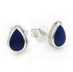 Sterling Silver Teardrop Stone Twist Frame Post Stud Earrings, Lapis Lazuli