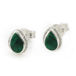 Sterling Silver Teardrop Stone Twist Frame Post Stud Earrings, Malachite