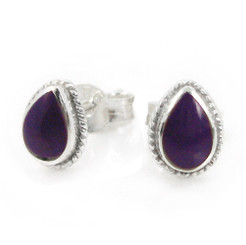 Sterling Silver Teardrop Stone Twist Frame Post Stud Earrings, Sugilite