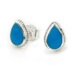 Sterling Silver Teardrop Stone Twist Frame Post Stud Earrings, Turquoise