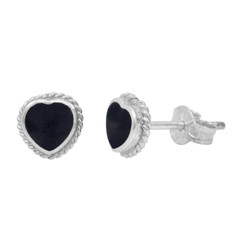Sterling Silver Stone Heart Twist Frame 6mm Post Stud Earrings, Onyx