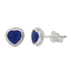 Sterling Silver Stone Heart Twist Frame 6mm Post Stud Earrings, Lapis Lazuli