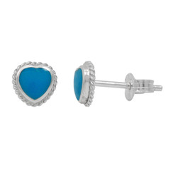 Sterling Silver Stone Heart Twist Frame 6mm Post Stud Earrings, Turquoise
