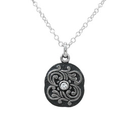 Sterling Silver Antique Swirls and Center Crystal Stone Pendant Necklace