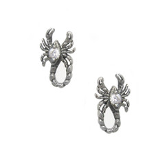 Sterling Silver Scorpions with Cubic Zirconia Stud Post Earrings, Clear