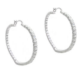 CZ Crystal Heart Shaped Hoop Earrings