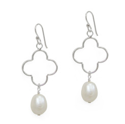 Open Flower Cultured Pearl Drop Earrings