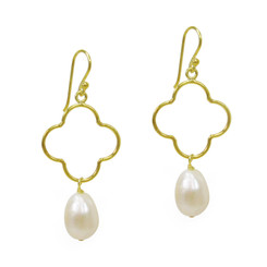 Gold Plated Sterling Silver Open Flower Cultured Pearl Drop Earrings