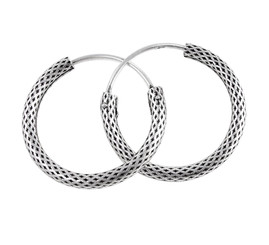 Sterling Silver Lattice Textured Hoop Earrings, 24mm