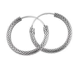 Sterling Silver Lattice Textured Hoop Earrings, 24mm