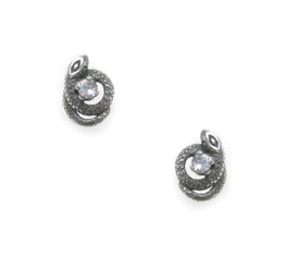 Sterling Silver Crystals and Encircling Snakes Stud Post Earrings, Clear CZ
