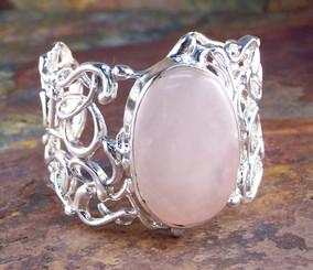 Sterling Silver Rose Quartz Organic Swirls Cuff Bracelet