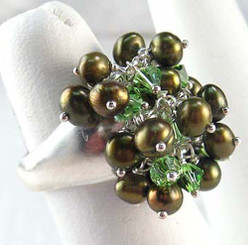 Sterling Silver Cultured Pearl Crystal Wire Wrapped Dome Ring