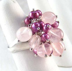 Sterling Silver Rose Quartz & Pearls Wire Wrapped Dome Ring