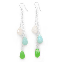 Three Teardrops Tiered Drop Earrings, Sea Green Combo