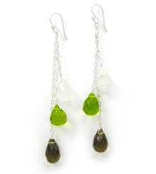Three Teardrops Tiered Drop Earrings, Smokey Green Combo
