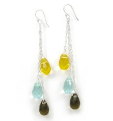 Three Teardrops Tiered Drop Earrings, Yellow Smoky Combo