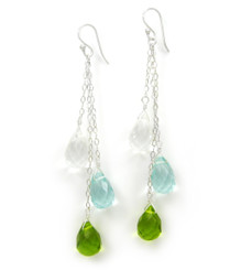 Three Teardrops Tiered Drop Earrings, Clear Green Combo