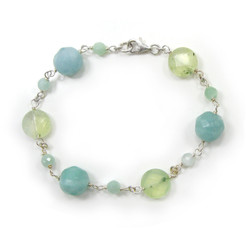 Sterling Silver Stone Wire Wrapped Link Bracelet, Amazonite Combo