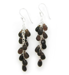 Sterling Silver Regen Teardrop Crystals Cascade Drop Earrings, Brown