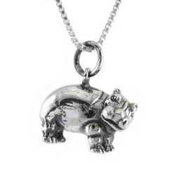 Sterling Silver Hippopotamus Necklace