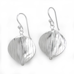 Sterling Silver Etched Twisty Circle Charm Drop Earrings