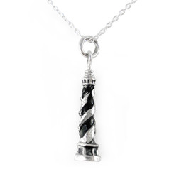 Sterling Silver Cape Hatteras Lighthouse Charm Necklace