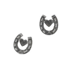 Sterling Silver Heart and Horseshoe Post Earrings