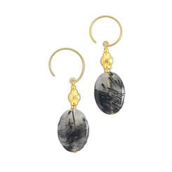 Gold Plated Sterling Silver Jelisa Beaded Drop Circle Hook Earrings