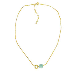 Gold Plated Sterling Silver Jorja Circle Link Stone Necklace, Amazonite