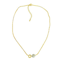 Gold Plated Sterling Silver Jorja Circle Link Stone Necklace, Prehnite