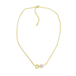 Gold Plated Sterling Silver Jorja Circle Link Stone Necklace, Rose