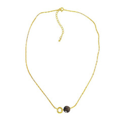 Gold Plated Sterling Silver Jorja Circle Link Stone Necklace, Smoky