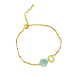 Gold Plated Sterling Silver Jorja Circle Link Stone Bracelet, Amazonite