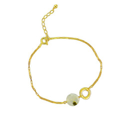 Gold Plated Sterling Silver Jorja Circle Link Stone Bracelet, Prehnite
