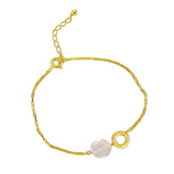 Gold Plated Sterling Silver Jorja Circle Link Stone Bracelet, Rose