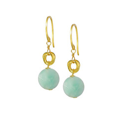 Gold Plated Sterling Silver Jorja Circle Link Stone Drop Earrings, Amazonite