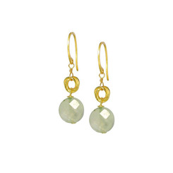 Gold Plated Sterling Silver Jorja Circle Link Stone Drop Earrings, Prehnite