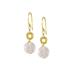 Gold Plated Sterling Silver Jorja Circle Link Stone Drop Earrings, Rose