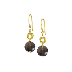 Gold Plated Sterling Silver Jorja Circle Link Stone Drop Earrings, Smoky