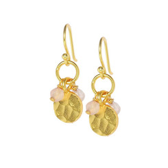 Gold Plated Sterling Silver Yesica Round Textured Charm Beaded Earrings, Rose
