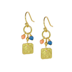 Gold Plated Sterling Silver Zaidee Square Charm Beaded Drop Earrings