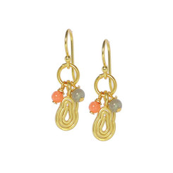 Gold Plated Sterling Silver Zarina Coil Charm Beaded Drop Earrings